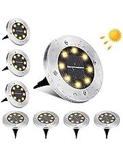 BrizLabs Vloerlampen op zonne-energie, 8 stuks, 8 leds, voor buiten, warmwit, 3000 K, tuinverlichting, IP65 waterdicht, voor gazon, oprit, looppad, patio, tuin, outdoor
