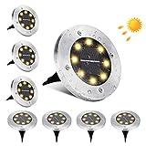 Luces de Tierra Solares, BrizLabs 8 LED Lamparas Solares Jardin Exterior Blanco Cálido Impermeable IP65 Inoxidable Luz de Suelo Solar Decoración para Calzada Camino Césped Escalón Patio, 8 Piezas