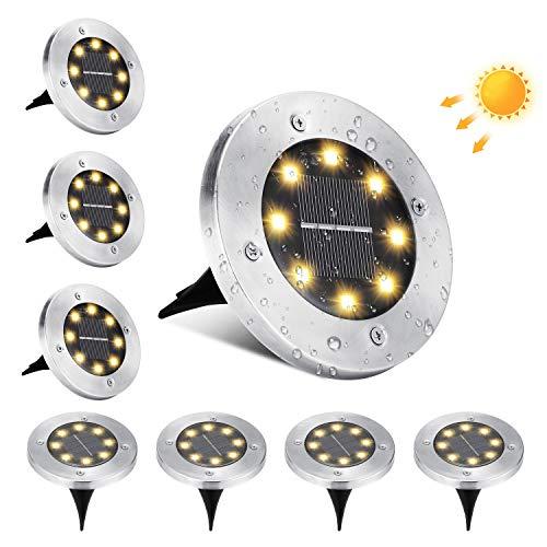 Luces de Tierra Solares, BrizLabs 8 LED Lamparas Solares Jardin Exterior Blanco...