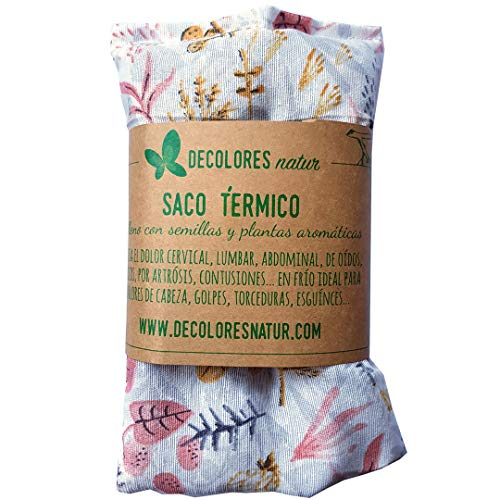 Decolores | Cojín Térmico Semillas con Estampado de Flores. Saco de calor y frío Para calentar en microondas.