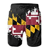 Jist Zovi Maryland Flag Men's Summer Surf Swim Trunks Beach Shorts Pants Quick Dry with Mesh Lining and Pockets(L) White