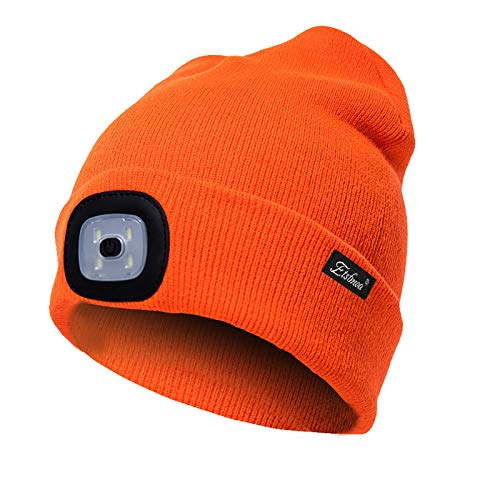 Etsfmoa Unisex LED Beanie Hat with Light, Gift for Men and Women USB Rechargeable Winter Knit Lighted Headlight Hats Headlamp Torch Skull Cap (Bright orange)