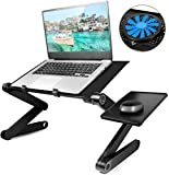 2020 New Laptop Table, Adjustable Laptop Stand with Large Cooling Fan & Mouse Pad, Foldable Book Stand Notebook Holder for Bed Couch Sofa Office