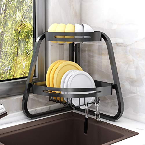 Apsan Over The Sink Dish Drying Rack 2 -Tier Dish Rack Adjustable for Kitchen Counter Foldable Dish Drainer Space Saver Black