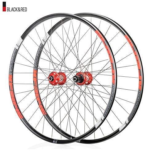 Juego ruedas Conjunto bicicleta montaña rojo MTB doble pared Aleación aluminio Cubo rueda libre Freno disco llanta Liberación rápida Rodamientos Ciclismo delantera rueda trasera,8-12 velocidad,29'
