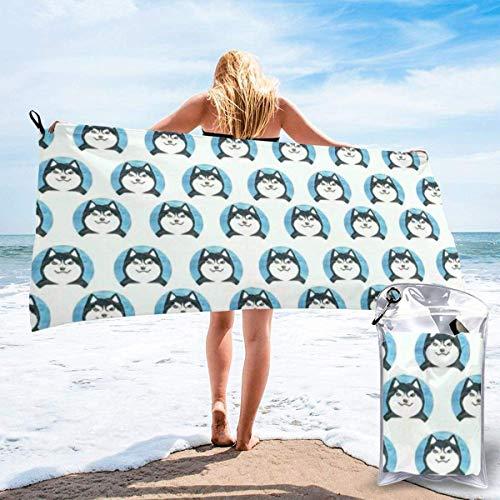 Toallas de Playa de Antiarena de Microfibra para Hombre Mujer, 130x80cm, Toallas Baño Calidad Gigante Secado Rapido para Piscina, Manta Playa, Toalla Yoga Deporte Gimnasio,Perro Sonrisa Divertida