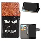 HHDY Sony Xperia L3 Funda, Diseño PU Cuero Libro Soporte Plegable y Ranuras para Tarjetas Dibujos Caso Cover para Sony Xperia L3,Don't Touch