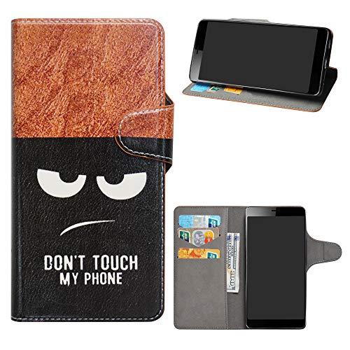 HHDY Sony Xperia L3 Cover, Flip Wallet Case PU Pelle con Carte Slot Credito Portafoglio Supporto Stand Schema Custodia per Sony Xperia L3,Don't Touch