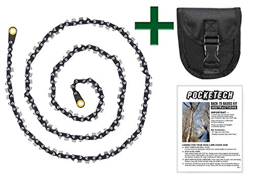 Pocketech's Back-to-Basics Kit: 48 Inch High Tree Limb Hand Chain Saw- Upgraded Chain with 50% More Blades- 62 Teeth- No Rope Included- Blades on Both Sides so it Doesn't Matter How it Lands