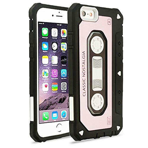iPhone 6 Plus/6s Plus Case, Mybat Cassette Dual Layer [Shock Absorbing] Protection Hybrid PC/TPU Rubber Case Cover for Apple iPhone 6 Plus/6s Plus, Rose Gold/Black