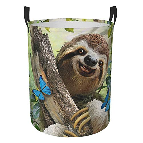 Collapsible Round Laundry Basket Smile Sloth With Wood And Leaves Laundry Hamper Large Capacity Storage Bin Kids Toy Clothes Organizer With Strong Handle Home Dorm Room Decor