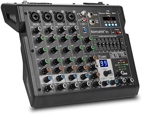 Mixer a 6 canali 99 effetti EQ a 7 bande Mixer audio Bluetooth per ingresso di registrazione PC, jack per microfono XLR, 48 V, ingresso/uscita RCA per professionisti e principianti - Bomaite B6, nero