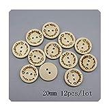 Handgefertigte Holzknöpfe mit 2 Löchern, rund, für Scrapbooks, Nähen, DIY, 20 mm, 12 Stück, Größe