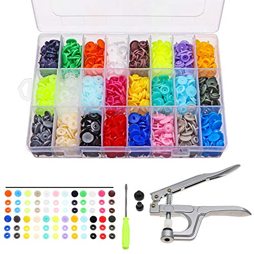 electrapick 360tlg Druckknöpfe Set mit Zange 24 Farbe Nähzubehör für DIY Basteln Jersey Stoff, Kleidung Taschen