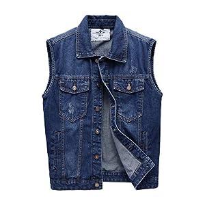 Men's Casual Sleeveless Denim Vest Unlined Motorcycle Jean Jacket