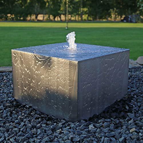CLGarden Designer Edelstahl Springbrunnen Quader groß Wasserspiel Garten Komplettset