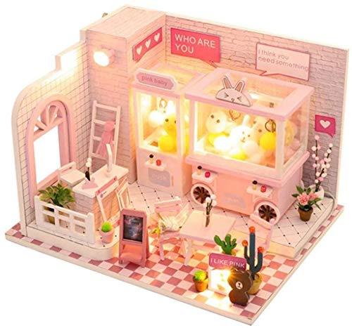 JJJJD-escultura DIY Dollhouse Garra muñeca Máquina Casa Modelo Mini Muebles Simulación con LED Luces y Cubierta de Polvo Etc decoración for el hogar