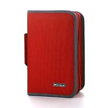 Bivisen CD Case Wallet 128 Capacity CD DVD VCD Case Wallet Holder Disc Holder Blu-ray Media Case Storage Organizer Wallet Bag  Red