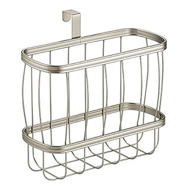 InterDesign York Lyra Over-the-Tank Magazine Holder - Wire Bathroom Organizer Rack - Satin