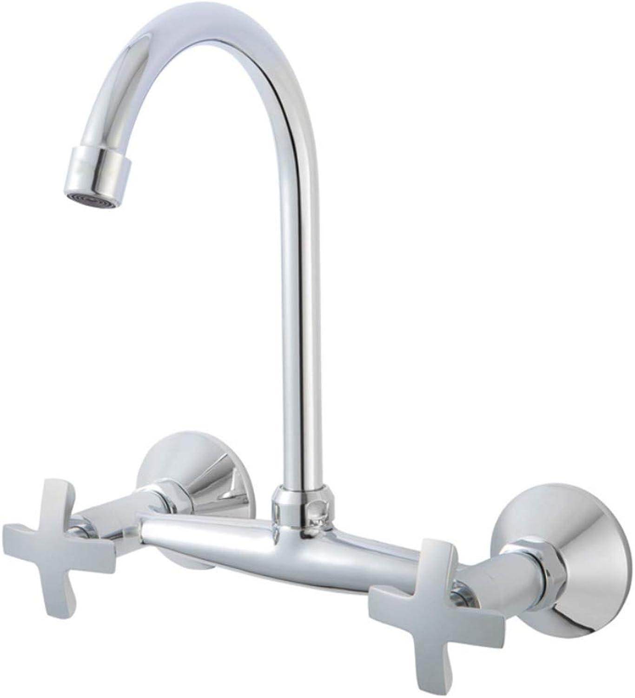 Faucet Mone Spout Basinwalled Kitchen Faucet Mixed Cold and Hot Valves 20 cm Apart Faucet Hand Wheel Faucet