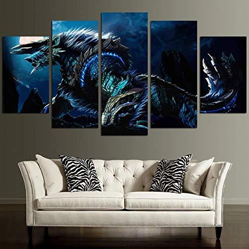 GSDFSD Bilder Monster Hunter Zinogre - Wandbild 200 X 100 cm Vlies - Leinwand Bild Format Wandbilder Wohnzimmer Wohnung Deko Kunstdrucke 5 Teilig - Fertig Zum Aufhängen