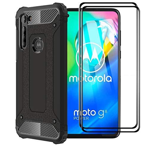 FANFO Custodia per Motorola Moto G8 Power, Nuovo [Rugged Armor] [Design Meccanica Durevole] Massima Protezione da Cadute e Urti, Nero + 2 Pack Pellicola Protettiva in Vetro temperato