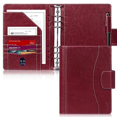 Skycase - Carpeta A5, portafolio, A5, encuadernación de piel A5, 6 anillas, agendas, cuadernos con...