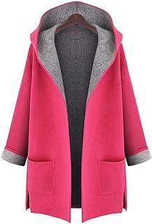Abrigo de Color sólido Sudadera con Capucha para Mujer Abrigo de Talla Grande Abrigo Abierto Abrigo de Manga Larga de Color sólido