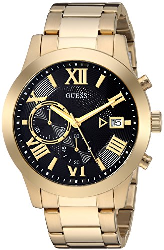 GUESS Gold-Tone Stainless Steel + Black Chronogaph Bracelet Watch with Date. Color: Gold-Tone/Black (Model: U0668G8)
