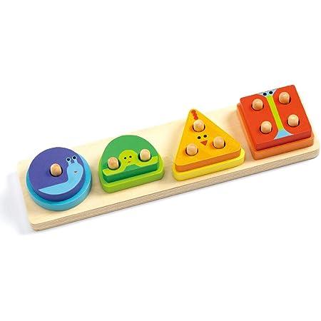 型はめパズル 木製パズル 赤ちゃん 知育玩具 スタッキング 積み木 DJECO ジェコ 1234 ベーシック (DJ06203)