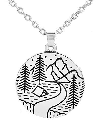 My Shape Halskette mit Anhänger Waldgebirge Strassenanhänger für Outdoor-Liebhaber Skifahrer und Wanderer.