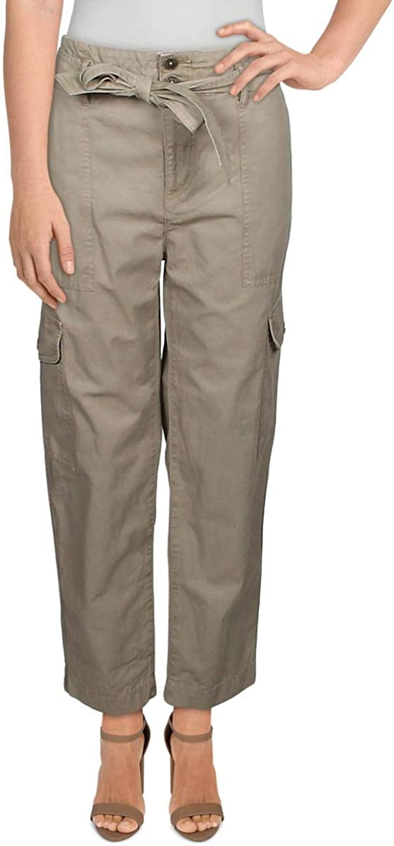 Lauren Ralph Lauren Womens Zuwena Cotton Cargo Straight Leg Pants Green 4