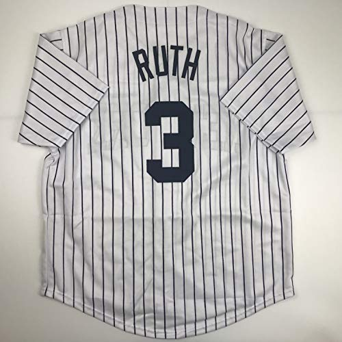 Unsigned Babe Ruth New York Pinstripe Custom Stitched Baseball Jersey Size Men's XL New No Brands/Logos