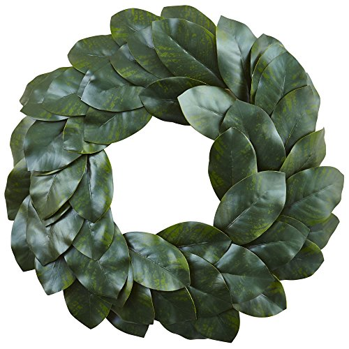 Nearly Natural Magnolia Leaf Wreath, 24