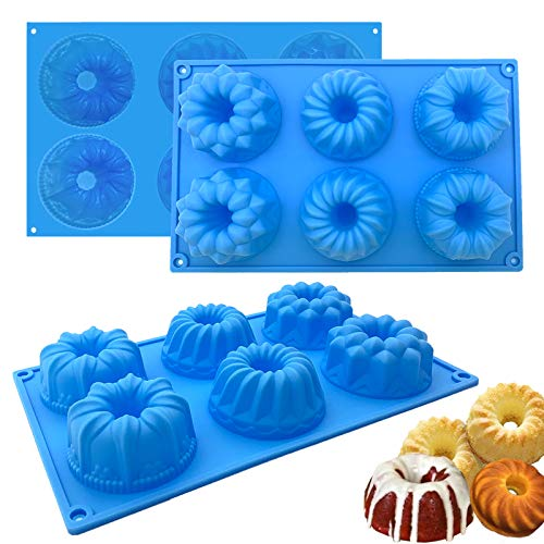 Mini Fluted Cake Pans, 3 Packs Reusable Silicone Baking Pan, Non-Stick Jello Molds for Cupcake, Jello, Brownie, Donut, Ice Cream