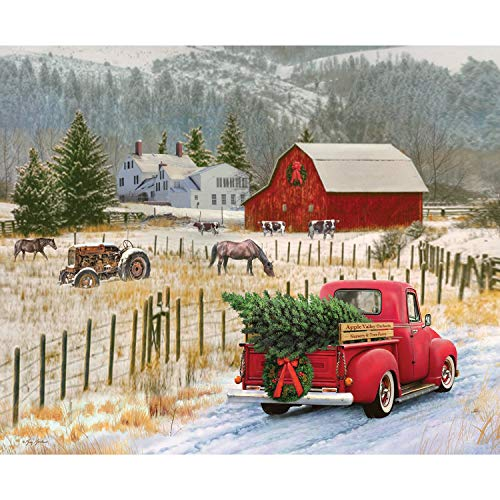 Christmas Memories Country Christmas Vintage Truck Panel from Riley Blake 100% Cotton Quilt Fabric P8691R-COUNT 36' x 42'