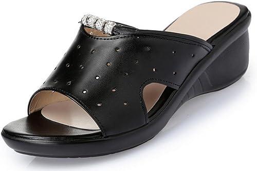 Les femmes pente sandales avec de grands chantiers glisser des mots creux sandales en strass à fond épais et pantoufles , noir , US6   EU36   UK4   CN36