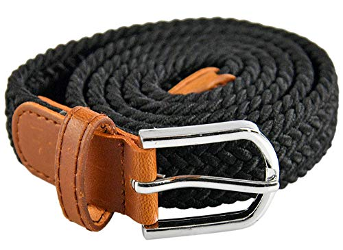 """HOME-X Ladies' Braided Stretch Belt, Elastic Belts for Women, Black - Stretches From 40"""" to 50"""" L"""