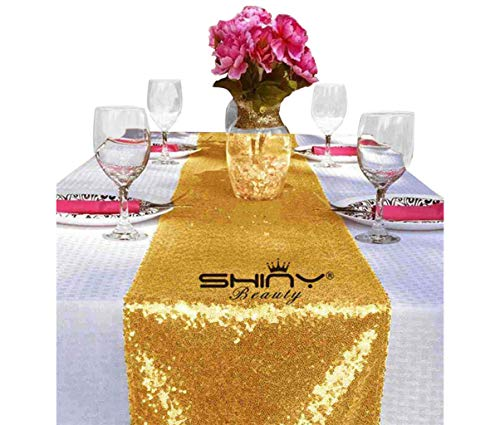 ShinyBeauty 12x108-Inch Sequin Table Runner Gold-12 Pieces, Sparkly Table Runner Linen