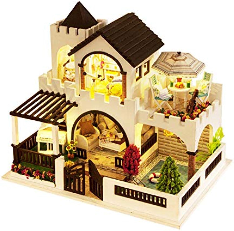 GUHUA DIY Kreative Handgemachte Thema Holzkabine Montage Modellbau Spielzeug Set Mit Licht Und Musik Geburtstagsgeschenk - Fantasy Castle