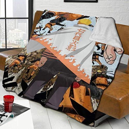 Na-ru-to S-even-th Ho-kage Cloak Uz-um-aki Nam-ik-aze Manta de tiro mixta, cálida y lavable, tamaño doble, lujo, lana de cordero, manta de cama, colchas para sofá, sillón de cama, 50 x 40 pulgadas