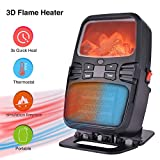 Mini Flame Heater, Portable Space Heater Fan Heater with Adjustable Thermostat, 2 Speed