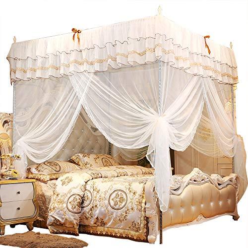 Nimoa Schlafzimmer Moskitonetz Prinzessin Vier-Eck-Pfosten Bett Vorhang Baldachin Netz Moskitonetz Bettwäsche Weiß(180 * 200 * 200)