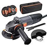Amoladora Angular 900W, Herramienta de 125 mm y 12000 RPM con Mango Anti-vibraciones, 3 Discos para Lijar/Pulir/Cortar, 2 Cubiertas Protectoras de Ruedas, 1 Bolsa Portátil