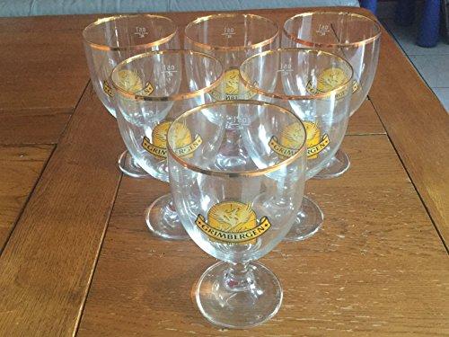 6Stück Glas Hat mit Bierflasche Grimbergen Rand Dore 50cl Neu