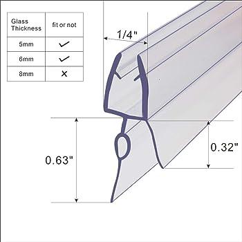 Frameless Shower Door Bottom Seal For 1 4 Inch 6mm Glass 36