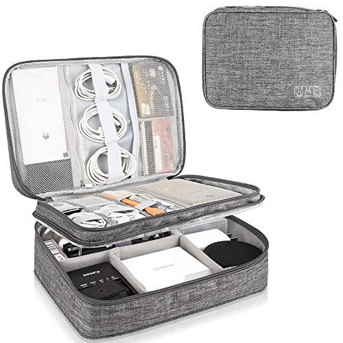 MAIMASHI Electronic Organizer,Travel Cable Accessories Bag Waterproof Double Layer Organizer Bag Portable Storage Pouch for Cable, Cord, Charger, Phone, Adapter, Ipad Mini,Power Bank (Gray)