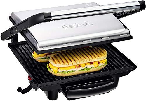 Tefal Kontaktgrill Inicio GC241D [Elektrogrill / Sandwichtoaster für Panini, Toasts, Steak, Sandwich und mehr; antihaftbeschichtete gerillte Grillplatten, gesund dank wenig Öl; 2000W; platzsparend]