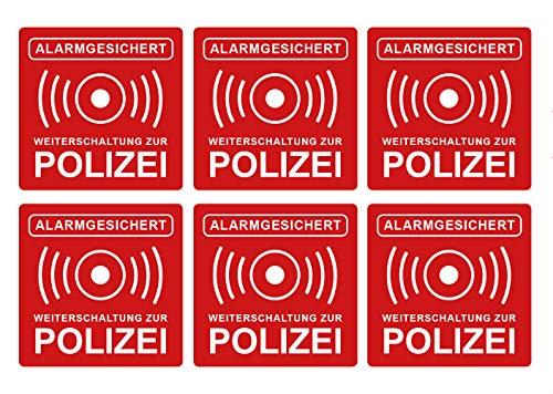 Sticker, alarminstallatie, herschakeling naar politie, waarschuwing, rood, alarmbeveiliging, 5 x 5 cm, weer- en UV-bestendig 5 cm x 5 cm rood/wit