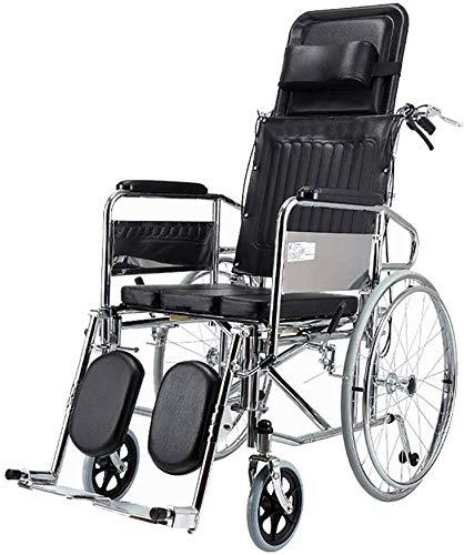LXTIN Silla De Ruedas Portátil, Sillas De Ruedas Scooter para Discapacitados, Silla De Ruedas Reclinable Completa con Respaldo Reclinable Sillas De Ruedas Portátiles Ligeras Plegables Autopropulsadas